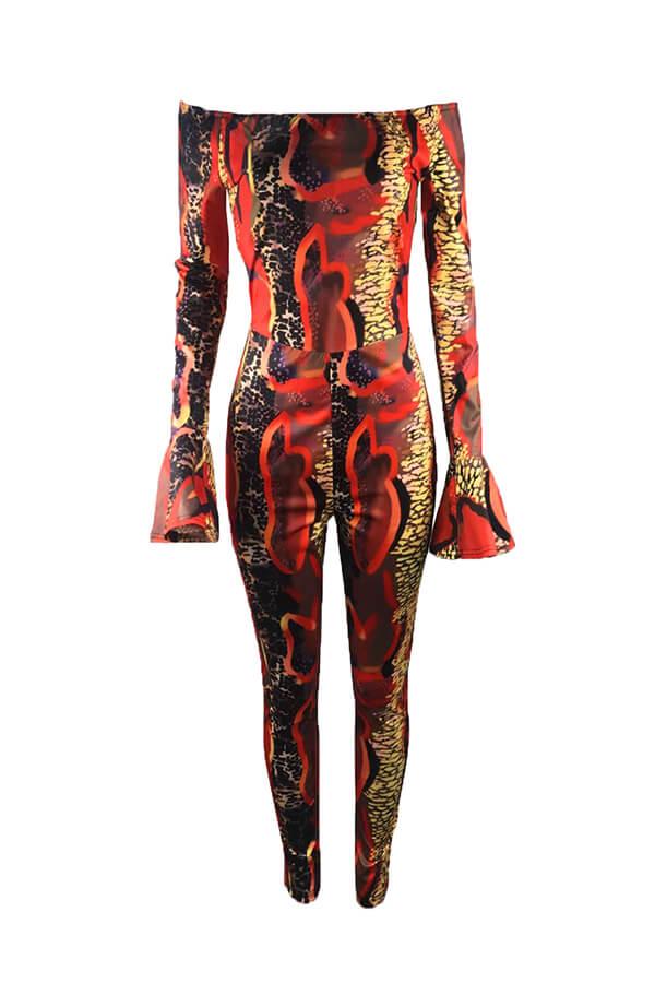 Lovely Leisure Snakeskin Printed Skinny One-piece Jumpsuit
