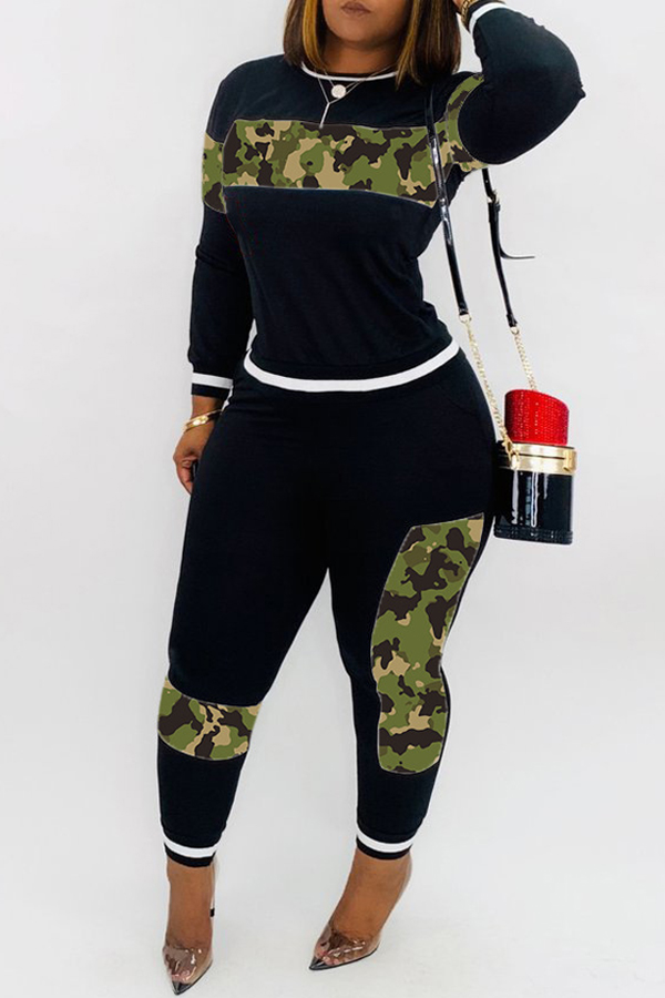 Lovely Casual Patchwork Camouflage Printed  Green Two-piece Pants Set