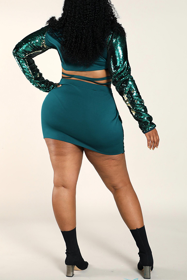 Lovely Trendy Patchwork Green Plus Size Two-piece