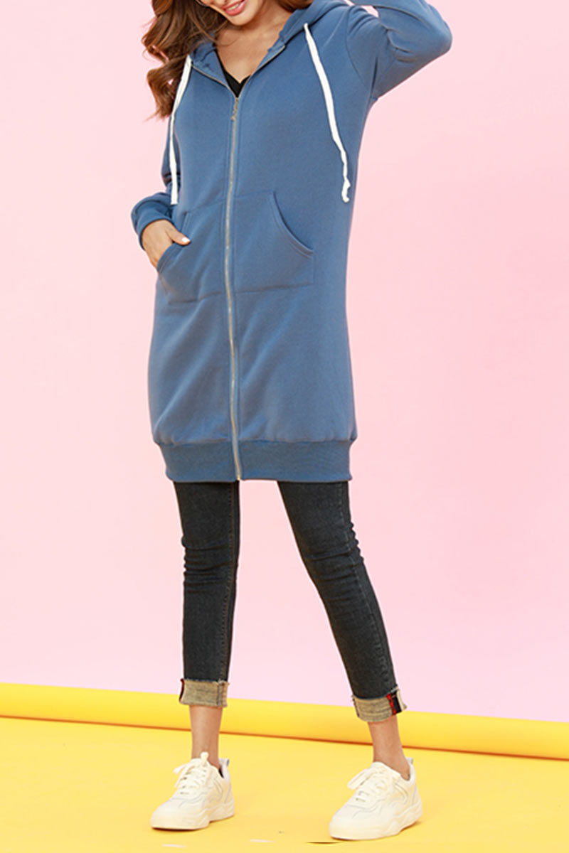 Lovely Casual Long Sleeves Blue Long Coat