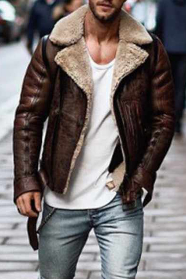 Lovely Casual Turndown Collar Brown Leather