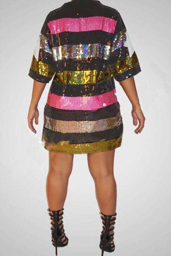 Lovely Casual Sequined Multicolor Plus Size Mini Dress