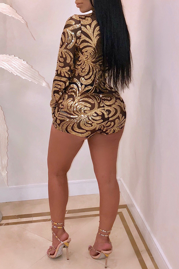 Lovely Sexy Sequined Decorative Skinny Yellow One-piece Romper