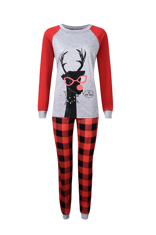 Lovely Family Plaid Printed Red Mother Two-piece Pants Set