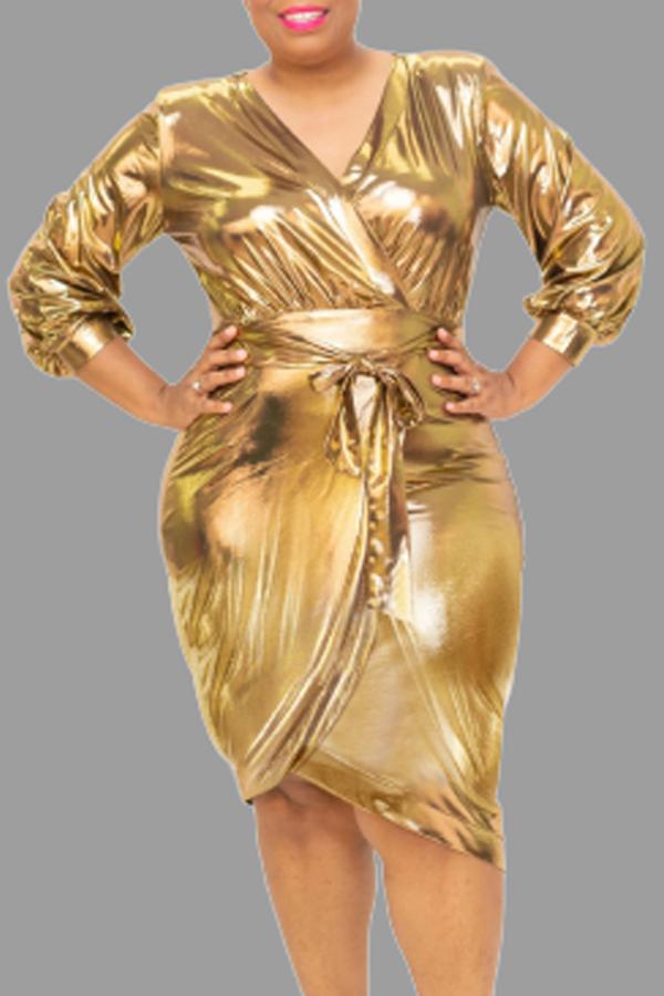 Lovely Casual V Neck Gold Knee Length Plus Size Dress