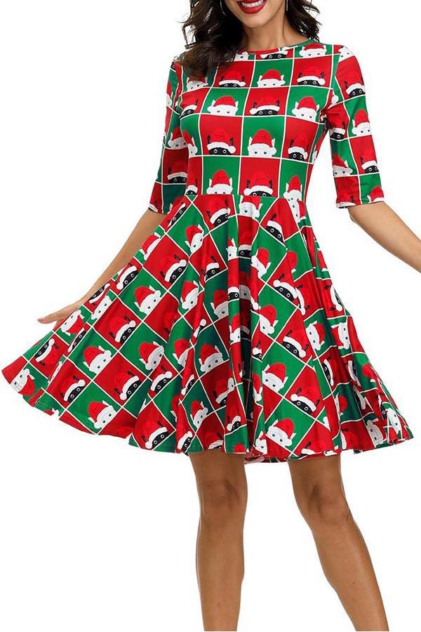 Lovely Christmas Day Printed Green Knee Length Dress