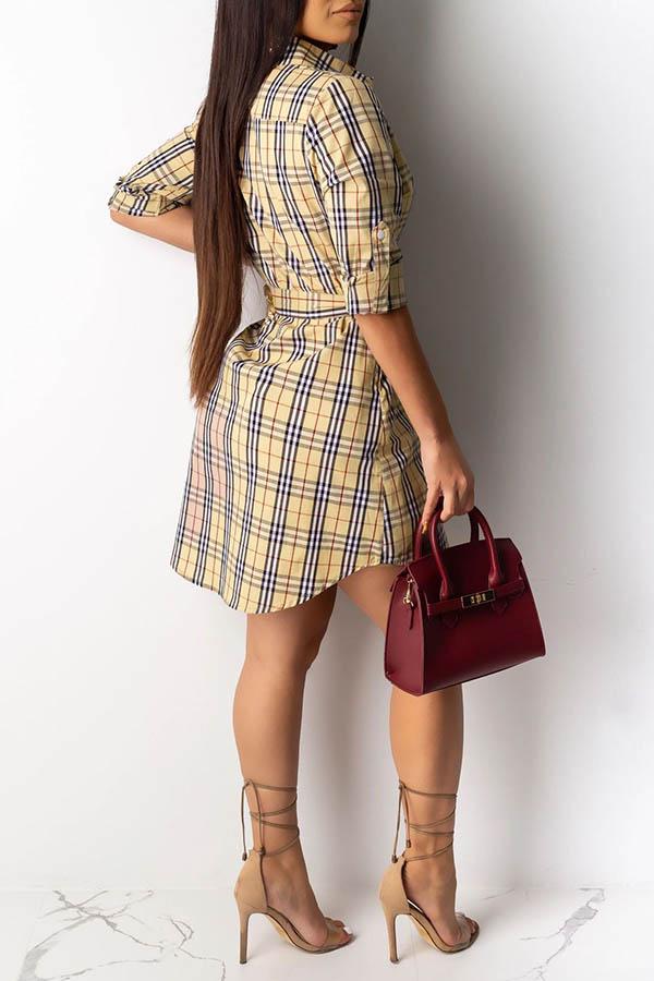 Lovely Casual Plaid Printed Khaki Mini Dress