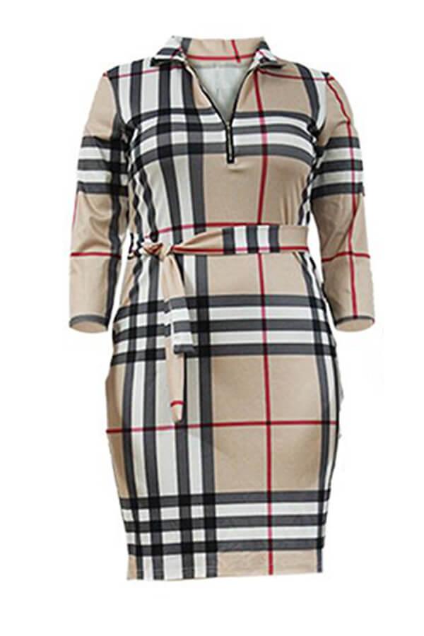 Lovely Casual Turndown Collar Printed Khaki Knee Length Plus Size Dress