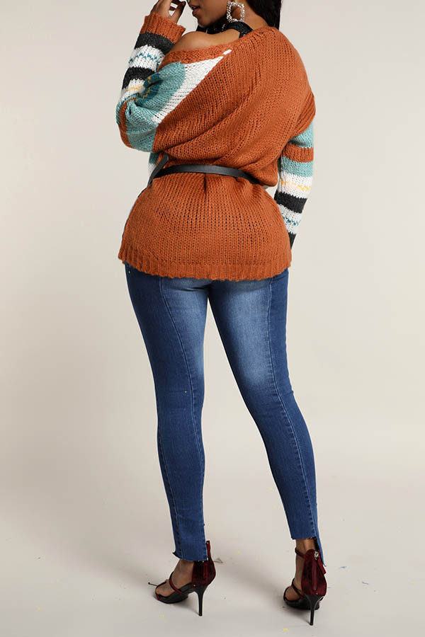 Lovely Casual Patchwork Multicolor Cardigan