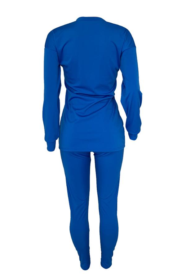 Lovely Leisure O Neck Basic Blue Two-piece Pants Set