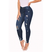 Lovely Casual Broken Holes Skinny Deep Blue Jeans