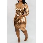 Lovely Trendy V Neck Asymmetrical Gold Mini Dress