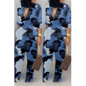 Lovely Casual Camouflage Printed Blue One-piece Ju