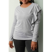 Lovely Casual Flounce Design Grey T-shirt