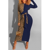 Lovely Casual Leopard Patchwork Deep Blue Ankle Length Dress