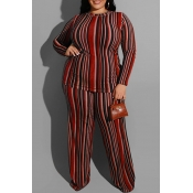 Lovely Casual Striped Wine Red Plus Size Two-piece Pants Set