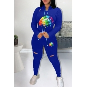 Lovely Casual Hooded Collar Lip Printed Blue Two-piece Pants Set