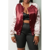 Lovely Casual Patchwork Wine Red Coat
