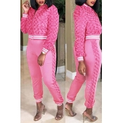 Lovely Casual Winter Patchwork Pink Two-piece Pant