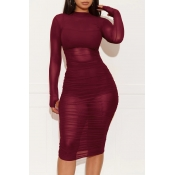 Lovely Casual O Neck Ruffle Design Wine Red Knee Length Dress(With Lining)