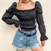 Lovely Trendy Square Collar Ruffle Design Black Bl