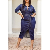 Lovely Casual Button Design Deep Blue Plus Size Mi