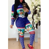 Lovely Trendy Printed Blue One-piece Jumpsuit