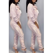 Lovely Casual Buttons Design Pink Two-piece Pants
