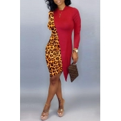 Lovely Casual Asymmetrical Leopard Red Knee Length