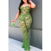 Lovely Sexy Spaghetti Straps Green Two-piece Pants
