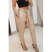 Lovely Chic Sequined Lace-up Gold Pants