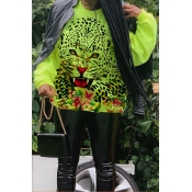 Lovely Trendy Printed Green Sweatshirt