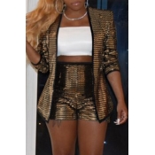 Lovely Casual Sequined Champagne Two-piece Shorts