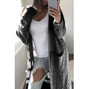 Lovely Leisure Pocket Patched Dark Gey Cardigan