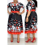 Lovely Leisure Dot Printed Red Mid Calf Plus Size