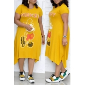 Lovely Leisure Printed Yellow Mid Calf Plus Size D