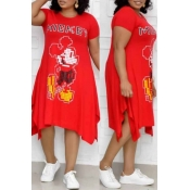 Lovely Leisure Printed Red Mid Calf Plus Size Dres