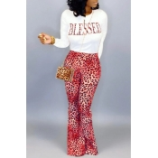 Lovely Casual Letter Printed Red Two-piece Pants Set