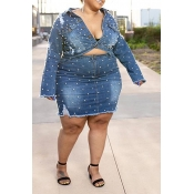 Lovely Casual Nail Bead Design Blue Plus Size Two-