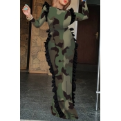 Lovely Trendy Skinny Camouflage Printed Army Green Floor Length Sheath Dress