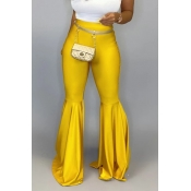 Lovely Casual Flared Yellow Pants