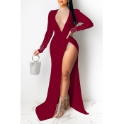 Lovely Party Side High Slit Wine Red  Floor Length