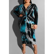 Lovely Casual Printed Blue Mid Calf Plus Size Dress