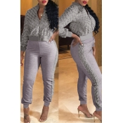 Lovely Casual Winter Patchwork Grey Two-piece Pant