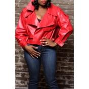 Lovely Trendy Turn-down Collar Red Coat