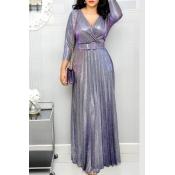 Lovely Trendy V Neck Ruffle Design Purple Floor Le