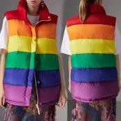 Lovely Casual Turndown Collar Striped Multicolor V