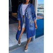 Lovely Casual Long Blue Coat