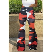 Lovely Casual Camouflage Printed Red Pants
