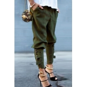 Lovely Casual Bandage Design Army Green Pants